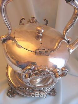 1800s Barbour Silver Co Tea Kettle Pot Burner strainer Victorian Marked Antique