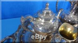 1847 Rogers Bros Heritage Tea Coffee Set Tray 6 Pieces Creamer Sugar Waste Bowl
