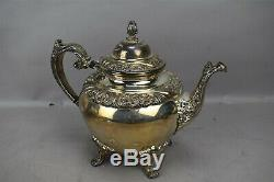 1847 Rogers Bros Tea Coffee Set HERITAGE Pattern Silver Plate Floral 6pc