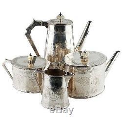 1849 Elkington, Mason & Co Silverplate Coffee & Tea Set (4 Pcs) Cream Sugar 8023