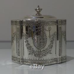 18th Century Ant George III Sterling Silver Tea Caddy Lon 1785 Aldridge & Green