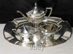 1914 W. D. Smith Silver Co ART DECO 4 Pc Tea Set w Tray HEPPELWHITE Nice