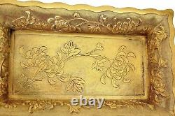 1930's Chinese Gilt Solid Silver Tea Dish Tray Plate Chrysanthemum Shanghai