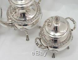 19th c Silver Tea Service, Empire Style, Swan Spout Design 1850 -1880