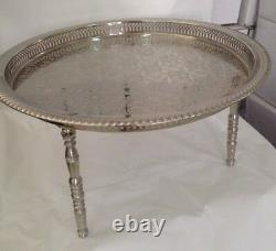 20 In Silver Plated Moroccan Handmade Serving Brass Tea Tray Table With 3 Legs Fez