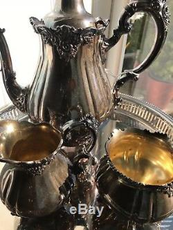 3 Piece Baroque by Wallace Silverplate & 12 Tea Pot Set Great Condition