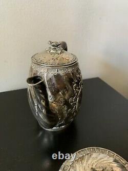 3 Piece Sterling Silver Ornate Tea Coffee Pot Set With Creamer Sugar Bowl Lidded