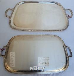 4+2Piece Antique Silverplate Tea Service Set with Tray