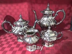4 Piece Gorham Chantilly Pattern Silver Plated Tea Set Service Hollowware