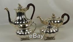 4 pc COMMUMITY Silver MELON Tea SET Coffee TEAPOT Sugar CREAMER Oneida Sheffield
