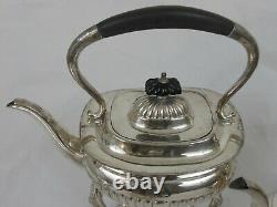 5 PC BUCKINGSHIRE Sheffield England SILVERPLATE TEA SET Spirit Kettle