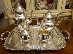 5 Pc Antique Oneida U. S. A. Silverplate Ornate Sheridan Coffee & Tea Service Set