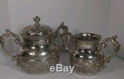 5 Piece ANTIQUE Tea Set Mermod Jaccard & Co 1892 Quadruple Plate Silver