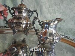 5 Vtg Poole Silver Lancaster Rose Tea Set 30 Serving Tray Coffee Pot Sugar 062
