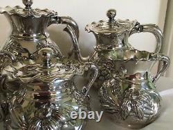 6 Pc Flowers Mermod Jaccard Tea Coffee Set Quadruple Plate