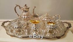 6pc Oneida Community Silver Sheffield Melon Shape Coffee & Tea Set Never Used