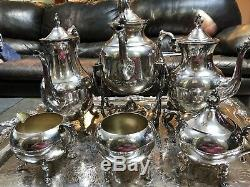 7 piece Silver on copper coffee and tea service set