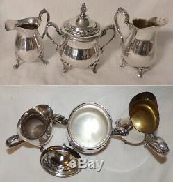 7pc Wm Rogers Towle Silverplate Tea Set 3 Pots 2 Creamers 1 Sugar + Large Tray