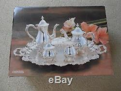 80s Vintage International Silver Company Silver Plated Coffee/Tea Set NOS