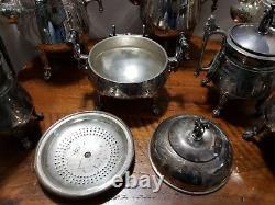 8pc Vintage REED BARTON Palms & Ribbon #2608 Tea Pots Service Bell Sugar Creamer