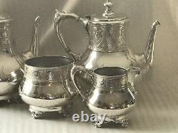 ANTIQUE1865 VICTORIAN AESTHETIC SILVER PLATECOFFEE & TEA Pots/Sugar/Creamer