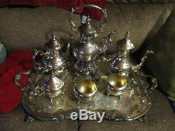 ANTIQUE 1883 FB Rogers Silverplate Set 7pc Tea Coffee Pot Service Tray Samovar