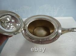 ANTIQUE ENGLISH CHASED SILVER PLATE COFFEE/TEA SET withWOOD HANDLES, 4 PIECE SET