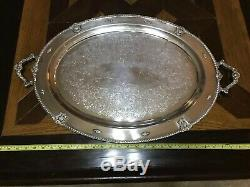 ANTIQUE WALLACE ROSE POINT LARGE WAITER TEA SET TRAY HANDLES SILVER Plate