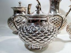 Aesthetic Meridian Victorian Silverplate 5 Pc Tea Set Quilted & Chrysanthemums