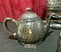 Aesthetic Victorian Reed & Barton Hammered Silver Plate Tea Set