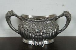 American Silver Plate Co Tea Coffee Set Floral Victorian Simpson Hall Miller