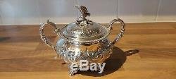 An Antique Silver Plated Tea Set With Embossed Patterns. Eagle Finials. J. Turton