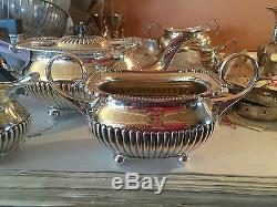 Ant tea set, teapot/creamer/open sugar, English SILVER PLATE 3 pc WILLIAM HUTTON