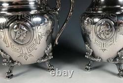 Antique 1860s STARR & MARCUS MEDALLION Silverplate Coffee Tea Set Reed Barton