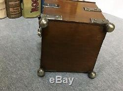 Antique 1890s John Grinsell & Sons London Silver Plate Wood Tea Canister Caddy