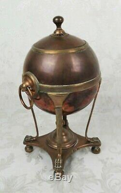 Antique 19th C English Tinned Copper Samovar Hot Water Tea Urn Regency 1810