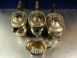 Antique 4 Piece Elkington 38002 Cardinal Plate Silver Soldered Tea & Coffee Set