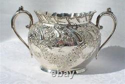 Antique Art Nouveau Silverplate Tea Set 1881-1897 Beautiful Ornate Repousse Work