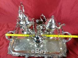 Antique Birmingham Silver Co Tea Coffee Service 8 Pc. Set Tray Silver on Copper