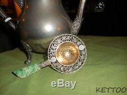 Antique Chinese Sterling Silver BIRDS BAMBOO Tea Strainer Jadeite Jade Rare