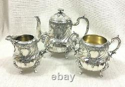 Antique Christofle Silver Plated Tea Set Teapot French Louis XIV Art Nouveau