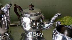 Antique Dragon Themed Silver Plated Tea Set / Charles Green & Co c1905 with Tray