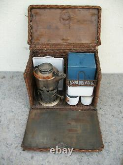 Antique Drew & Son EN Route Wicker & Silverplate Tea / Picnic Set Automobilia