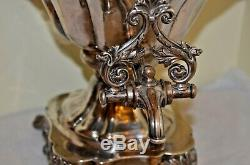 Antique English Copper Silverplated Heavy Engraved Samovar Coffee Tea Water Urn