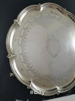 Antique English Four Piece Silver Plate Tea Set With Tray Free Priority Ship U. S