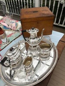 Antique English Sheffield Silver-plate Coffee & Tea Set from Palatine Club, GB