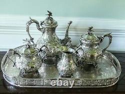 Antique English Victorian Silverplate Figural Tea Set (downton Abbey)