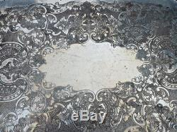 Antique Grapes Silverplate on Copper Heavy Coffee Tea Service, Tray Old English