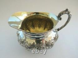 Antique Hand Chased Repousse Silver Plated Tea Set Flower decor 1881 Rogers