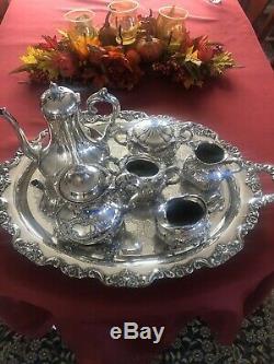 Antique Homan silver plate co quadruple plate Tea Set mint